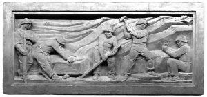 """Uno dei modelli in gesso realizzati da Augusto Magli per il fregio del palazzo dell'Opera Nazionale Dopolavoro realizzato nel 1934 e attuale teatro """"Quartieri"""""""