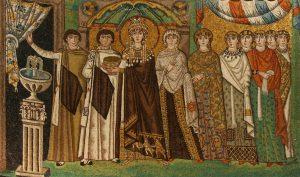 Mosaico raffigurante l'imperatrice Teodora con le sue dame (Ravenna, sec. VI)