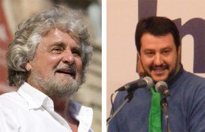Beppe Grillo (M5S) e Matteo Salvini (Lega Nord)