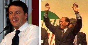 Il leader del PD, Matteo Renzi e quello di Forza Italia, Silvio Berlusconi
