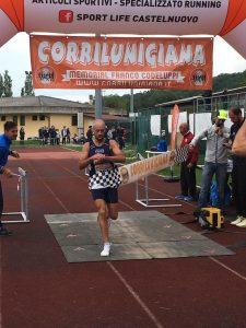 L'arrivo al traguardo del vincitore Gabriele Benedetti