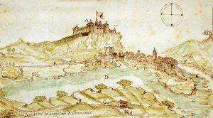 La fortezza della Brunella e il borgo di Aulla in una pianta del XVII secolo