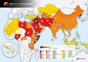 Principali paesi dove i cristiani sono perseguitati. Infografica: Portes ouvertes France (2015)