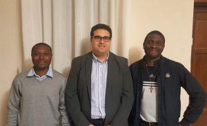Da sinistra a destra: i seminaristi Christ Geoffroy Noukoudjo, Luca Signanini e Jules Ganlaky.