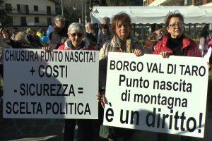 La protesta del i rappresentanti del Comitato Punto nascite di Borgotaro
