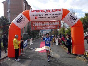 L'arrivo del vincitore Raffaele Poletti