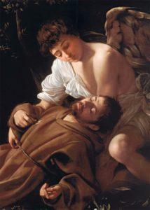 "Michelangelo Merisi da Caravaggio, ""San Francesco in Estasi"" (1494-1495). Particolare."