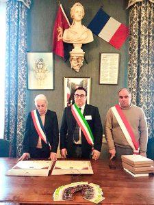 Un momento dell'incontro in cui è stato sancito il  gemellaggio tra Mulazzo e il comune francese di Puylaurens