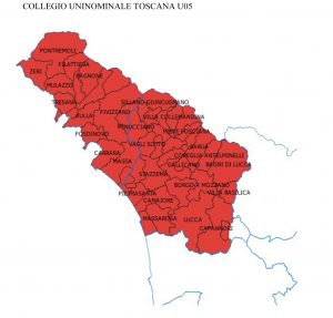 Il collegio uninominale che comprende la provincia di Massa Carrara e la Provincia di Lucca (con le sole eccezioni dei comuni di Altopascio e Montecarlo)