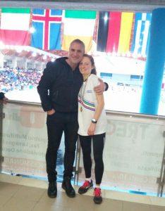 Chiara Ferdani con il suo coach Roberto Di Stani festeggiano insieme l'importante successo