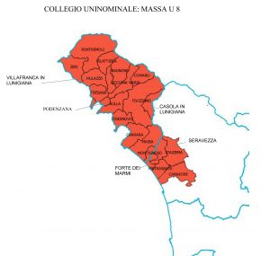 La cartina dei Comuni del collegio Uninominale n. 8 che comprende la nostra Provincia e i Comuni di Seravezza, Stazzema, Forte dei Marmi, Pietrasanta e Camaiore