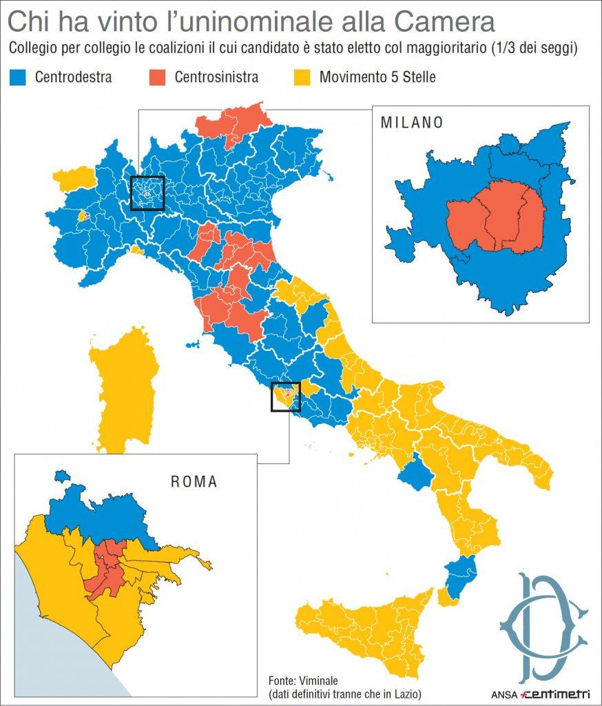 Elezioni 2018 la mappa dei risultati nei collegi uninominali alla Camera