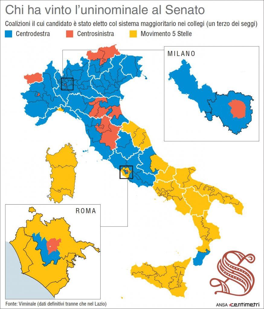 Elezioni 2018 la mappa dei risultati nei collegi uninominali al Senato