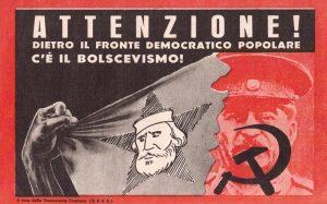 Elezioni del 1948: volantino di propaganda diffuso dalla Democrazia Cristiana contro il Fronte Popolare