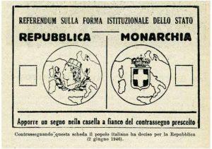 La scheda del referendum del 2 giugno 1946