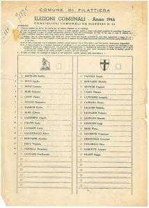 La scheda per le elezioni comunali di Filattiera del 1946