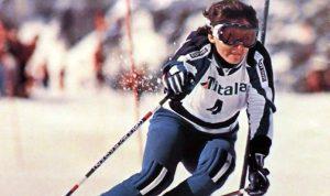 Un'immagine di Claudia Giordani durante una gara di sci negli anni '70.