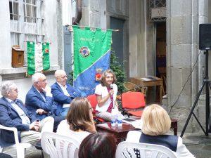 L'intervento di Claudia Giordani. Al suo fianco i rappresentanti dei Veterani Sporti e del Panathlon