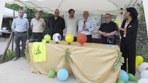L'inaugurazione del parco giochi a Filetto con Massimiliani Valtriani, Paolo Bestazzoni, Filippo Bellesi, Loris Bernardi, Cosimo Ferri, Don Pietro Giglio, Cristiana Baldini.