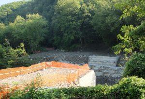 L'area dei lavori al ponte di Cadugo