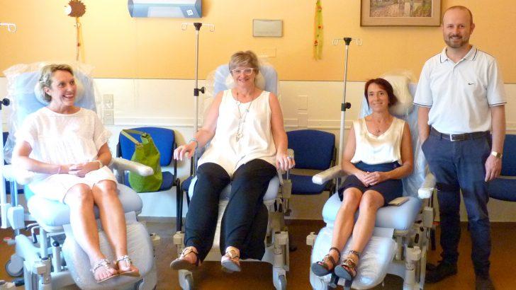 Donate all'ospedale quattro nuove poltrone per i pazienti di oncologia