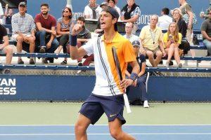 Il tennista carrarese Lorenzo Muretti durante una fase di gioco al recente Us Open junior