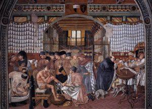"""Domenico di Bartolo, """"Cura degli ammalati"""" (sec. XV). Ospedale Santa Maria della Scala, Siena"""