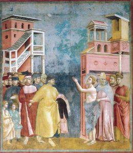 Giotto, Storie di San Francesco: la Rinuncia agli averi (1292-1296). Assisi, Basilica superiore.