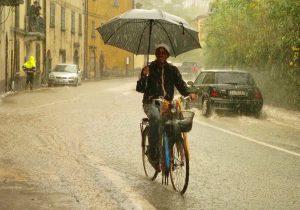 Un venditore di ombrelli affronta con la bicicletta la forte pioggia nel corso della giornata di lunedì 29 ottobre (foto Massimo Pasquali)