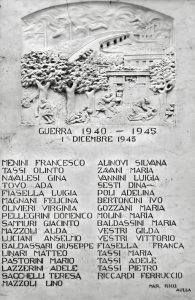 La lapide-monumento che ricorda in nomi delle 33 vittime civili del bombardamento sulla Filanda del 1 dicembre 1943