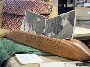Uno scorcio della mostra con foto e materiali del vecchio stabilimento della Montecatini alla Filanda