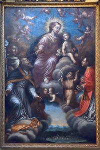 Pontremoli,chiesa di San Geminiano: Vergine con Bambino in Gloria e S. Geminiano, San Bernardo, San Giovannino e San Lorenzo. Olio su tela (sec. XVII).