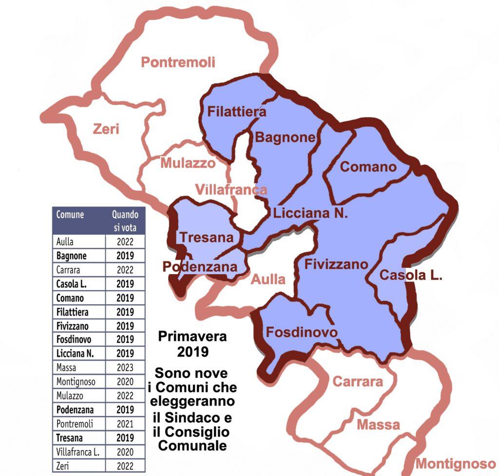 Le date della chiamata al voto dei vari comuni della Provincia e, evidenziato in viola, i nove che rinnoveranno le proprie amministrazioni nella prossima primavera.