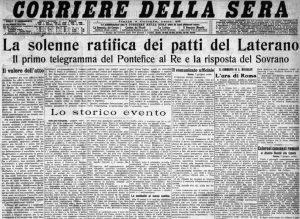 La prima pagina con la quale il Corriere della Sera annuncia la firma dei Patti