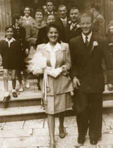 Giovanna Spadoni e Natale Ostrogovich nel giorno del loro matrimonio sull'isola di Cherso