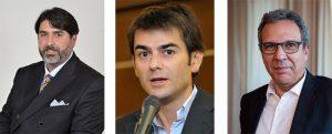 Da sn: il neo presidente della Regione Sardegna, Solinas (centrodestra); il candidato del centrosinistra, Zedda; quello del M5S, Desogus.