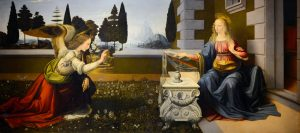 Leonardo da Vinci, Annunciazione (1472-1475). Firenze, Galleria degli Uffizi.