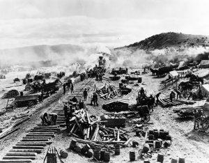 Cantiere per la costruzione della ferrovia Transcontinentale negli USA