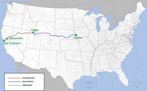 Il tracciato della Transcontinentale: da Omaha (Missouri) a Sacramento (California) e a San Francisco
