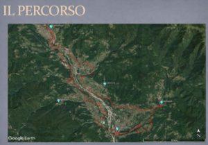 Il percorso della ciclovia visto con Google Earth