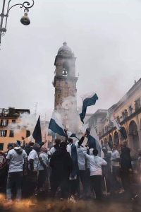 La festa in città, al ritorno della squadra, in piazza della Repubblica