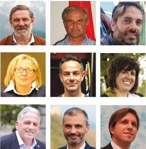 I nove sindaci eletti. Da sinistra a destra partendo dall'alto. Carletto Marconi (Bagnone), Riccardo Ballerini (Casola), Antonio Maffei (Comano), Annalisa Folloni (Filattiera), Gianluigi Giannetti (Fivizzano), Camilla Bianchi (Fosdinovo), Renzo Martelloni (Licciana), Marco Pinelli (Podenzana), Matteo Mastrini (Tresana).