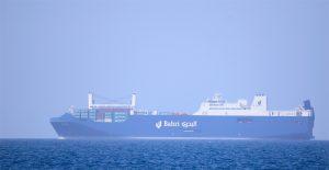 La nave cargo saudita Bahri Tabuk in navigazione nel Mediterraneo