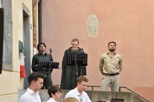 Le voci narranti. Da sn: Emanuele Sordi, Beniamino Magnavacca e Alberto Santini