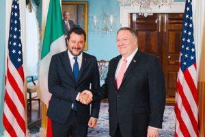 Il ministro dell'Interno, Salvini, a Washington con il segretario di stato Usa, Pompeo