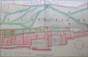La mappa del centro storico di Pontremoli affacciato sul torrente Verde disegnata dall'arch. Pietro Conti nel 1787