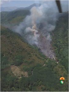 Un momento dell'incendio nel bosco nei pressi di Luscignano