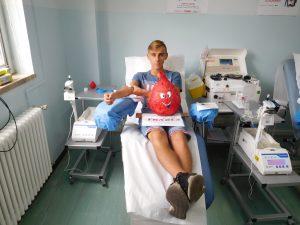 Il giovane Lorenzo Angella, alla sua prima donazione