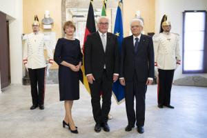 Un momento della visita a Fivizzano del presidente della Repubblica, Sergio Mattarella, e del presidente tedesco, Frank Walter Steinmeier