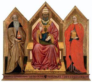 """Il Trittico Ringli. Maestro di sant'Ivo, """"S. Pietro tra S. Antonio abate e S. Maria Maddalena"""" (sec. XV)"""